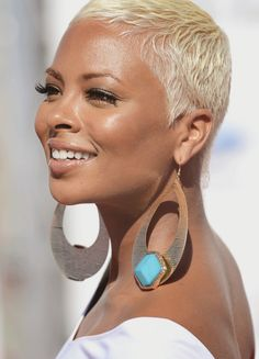White blonde pixie cut and white dress over a tanned skin....exquisite! Eva Marcille at the 2012 BET Awards  Loving the hair!