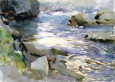 The Athenaeum - Stream over Rocks (John Singer Sargent - )