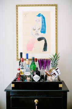 At Home with Hyla DeWitt Bar Cart Interior Design. Home Cocktail Bar, Bar Tray, Trays, Bar Cart Styling, Foyer Decorating, Bar Drinks, Beverages, Bar Set, Bar Signs
