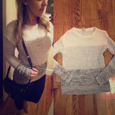 Forever 21 gray striped chunky knit sweater Slight hi lo hem, gray striped in a cute chunky knit. Size m, but runs a little small IMO no trades or pp Forever 21 Sweaters Crew & Scoop Necks