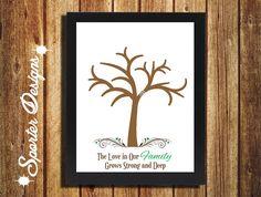 Family Tree Handprint Gift Wall Art DIY Digital by SporterDesigns