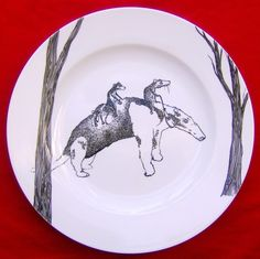 Hand Drawn Serving Plate  Anteater Bus by jimbobart on Etsy, $78.50