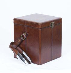 A striking handmade English leather ice bucket.