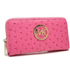 8bb3afd480 Michael Kors Ostrich-Embossed Leather Large Pink Wallets