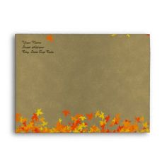 Autumn Fall Color Leaves Envelope - anniversary gifts ideas diy celebration cyo unique