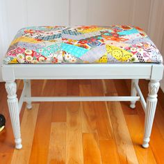 Upholstered Bench Handmade Quilted Chevron by nellgleason on Etsy