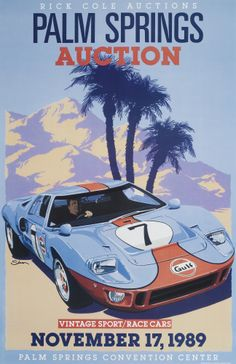 Palm Springs Vintage Car Auction Poster, GT40, by © Dennis Simon. This poster is available at centuryofspeed.com