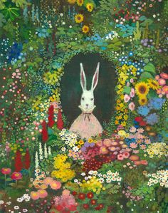 (I think that Studio Ghibli should do an Alice in Wonderland, I know Cat Returns has that feel and influence but I would still love to see this story played out in that world! Arte Peculiar, Illustration Noel, Rabbit Art, Rabbit Garden, Rabbit Hole, Bunny Art, Art Inspo, Alice In Wonderland, Folk Art