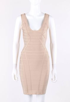 HERVE LEGER Beige V Neck Sleeveless Bandage Knit Bodycon Dress NWT | From a collection of rare vintage evening dresses and gowns at https://www.1stdibs.com/fashion/clothing/evening-dresses/