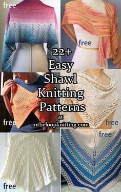 Easy Knitting Patterns for Shawls, most patterns are free. Many patterns are stockinette or garter stitch with simple lace or cable details.