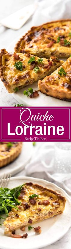 Easy Quiche Lorraine - A beautiful smooth, soft custard filling, this is the BEST easy Quiche Lorraine recipe you will ever try! www.recipetineats.com