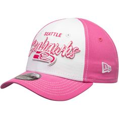 Girls Toddler Seattle Seahawks New Era White Pink Scribbled Front 9FORTY  Adjustable Hat b9a2378c7c0b