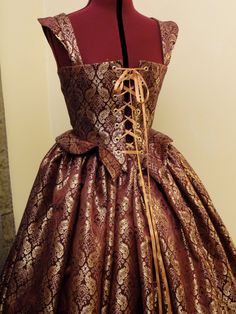 $170 Burgundy and Gold Renaissance Elizabethan Dress, Gown, Costume, Bodice and…