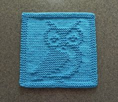 OWL Knit Dishcloth Wash Cloth Teal Turquoise by AuntSusansCloset