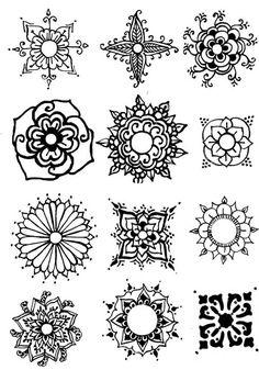 down from left, could easily add to it too Tangle Doodle, Doodles Zentangles, Doodle Art, Mandala Tattoo, Mandala Art, Mandala Design, Henna Kunst, Henna Art, Mandalas Painting
