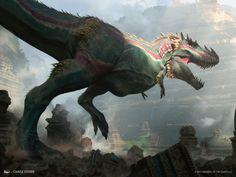 Ghalta Primal Hunger by Chase Stone Creature Concept Art, Creature Design, Monster Art, Chase Stone, Stella Art, Pirate Art, Mtg Art, Extinct Animals, Dinosaur Art