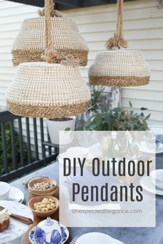 This DIY Outdoor Pendant Light tutorial is a great way to brighten your space and spend more time on the deck in the evenings! This DIY Outdoor Pendant Light tutorial is a great way to brighten your space and spend more time on the deck in the evenings! Outdoor Pendant Lighting, Basket Lighting, Lighting Ideas, Lighting Design, Lampe Crochet, Diy Pendant Light, Pendant Lamps, Pendant Lights, Diy Kit