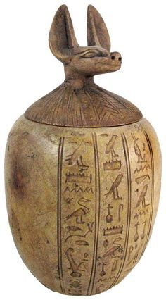 Egyptian interior items used include canopic jars. This authentic ancient Egyptian artifact Anubus canopic jar 1570 - 1085 BC with hieroglyphics is handmade. Ancient Egyptian Artifacts, Historical Artifacts, Ancient History, Art History, European History, Ancient Aliens, American History, Objets Antiques, Canopic Jars