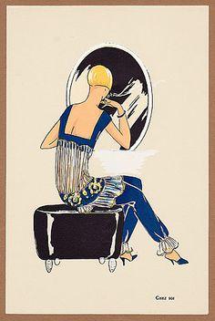 """La Mode """"Ultra-Moderne"""" Album n°1 - Lingerie 1925 Chez Soi, Pochoir Pajamas Art Deco"""