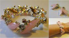 Vintage Bracelet Earrings Pink Rhinestone Costume by soulrust, $16.00