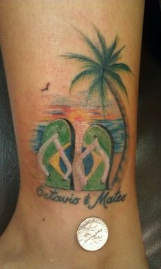 New Palm Tree Tattoo Ankle Beautiful Ideas - # Time Tattoos, Body Art Tattoos, New Tattoos, Cool Tattoos, Tatoos, Beachy Tattoos, Friend Tattoos, Design Tattoo, Tattoo Designs