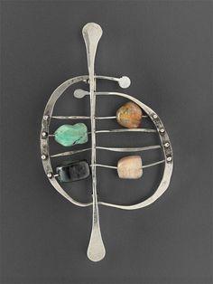 Ed Wiener, Abacus brooch, 1950. Silver with semi-precious stones. Courtesy Museum of Fine Arts, Boston