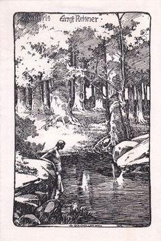 Bergmüller, Carl [auch Karl] Wilhelm (1864-1928): Ex libris Ernst Reisner. Männlicher Akt an See im Wald.