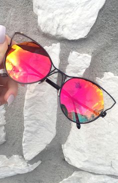""" Indecent"" Cateye Sunnies - Blood/Orange + Black Frame"