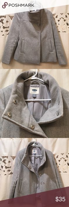 Gray Old Navy Pea Coat Small gray Old Navy pea coat with cowel-like neck line. Very cute and only worn a couple times- not good for anyone with wide shoulders or large chest as it may be a bit tight. Old Navy Jackets & Coats Pea Coats