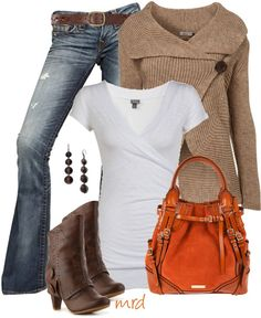Jeans: Wrap neck sweater and orange bag
