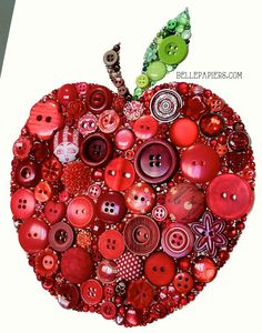 Button crafts For Teachers - Apple Decorations Fruit Flowers Anniversary Apple Button Art Apple for the Teacher Buttons and Swarovski Rhinestones Teacher Appreciation crafts crafts crafts decoracion crafts Button Canvas, Button Art, Button Crafts, Heart Button, Diy Buttons, Vintage Buttons, Crafts To Make, Crafts For Kids, Arts And Crafts
