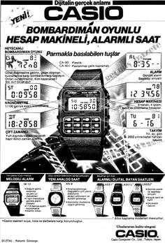 1981 Casio bombardıman oyunu, hesap makineli, alarmlı saat - My Design Ideas 2019 Bomber Game, Business Poster, Book And Magazine, Old Ads, Advertising Design, Business Design, Calculator, Alarm Clock, Have Fun