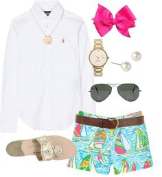 """""""Southern Prep"""" by classically-preppy ❤ liked on Polyvore. White button down, printed shorts, jacks, pink hair bow, pearls."""