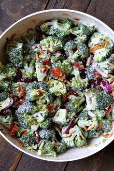 Easy Cranberry Almond Broccoli Salad Recipe - from http://RecipeGirl.com