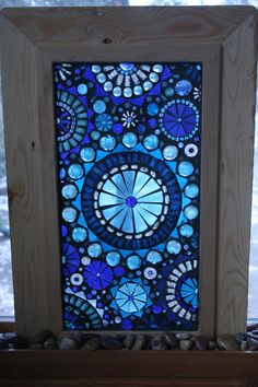 Glass Mosaic Window Panel Abstract Blue circles on self standing Frame.  via Etsy.