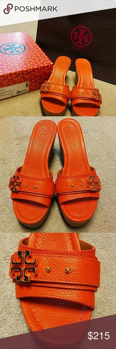 Gorgeous Tory Burch wedges used once! Gorgeous Tory Burch wedges used only once! Box and bag included. Price reasonable given outstanding condition of the shoes. Habanero pepper color. Tory Burch Shoes Wedges