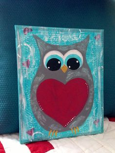 Mixed Media Owl painting on 8 x 10 inch Stretched by naomisnotions