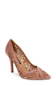 Kay Unger 'Sardana' Satin & Ribbon Lace Pointy Toe Pump (Women) available at #Nordstrom