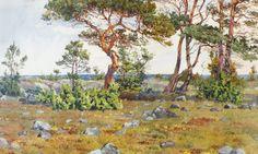 Gunnar Widforss - Coastal Landscape Dancing, Coastal, Trees, Paintings, Sky, Artists, Watercolor, Landscape, Inspiration