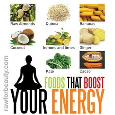 Foods that Boost Energy Raw Almonds Quinoa Bananas Coconut Lemons and Limes Ginger Kale Cacao
