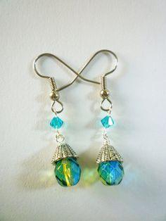 Green and Blue Beaded Earrings #earrings #jewelry