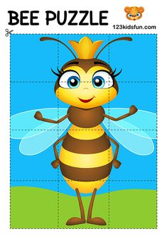 Bee Game - Free Puzzle for Kids. Homeschooling – Free Printables, Worksheets and Activities. Bee Activities, Free Activities For Kids, Educational Games For Kids, Toddler Learning Activities, Infant Activities, Kids Learning, Free Preschool, Educational Toys, Free Puzzles For Kids