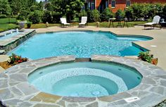 Pool Photos | Roman Pools | Grecian Pools | Blue Haven Pools. Great gray with just a couple pieces of pale brown.