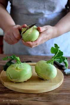 Photo about Woman cutting kohlrabi on a wooden board. Image of vegetable, cooking, making - 92673618 Romanian Desserts, Romanian Food, Cooking Recipes, Healthy Recipes, Healthy Food, Tasty, Yummy Food, Fruit Drinks, What To Cook