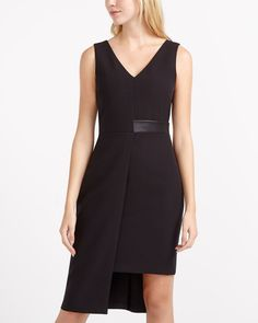 Look your best in this amazing Asymmetrical Dress. Crafted from a premium fabric, it features a flattering v-neckline and a faux leather detail at waist for a touch of style. Pair this dress with your favourite high heels for a chic look. Canadian Clothing, Asymmetrical Dress, Casual Tops, Dresses For Work, Neckline, Denim, Chic, Formal, Fabric