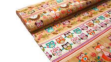 0,5m Woodland Critters USA Cotton Fabric with Fox, Hedgehog & Owl Stripe l99