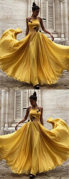 Prom Dresses Split, A-Line Halter Floor-Length Yellow Chiffon Prom Dress with Flowers, whether you want a little sequin detail on a short prom dress or an allover sequin design on your long prom gown, sequins ensure you will sparkle and shine all night. Yellow Party Dresses, Yellow Evening Dresses, Chiffon Evening Dresses, Wedding Party Dresses, Yellow Dress, Chiffon Dress, Strapless Dress Formal, Chiffon Flowers, Formal Dress