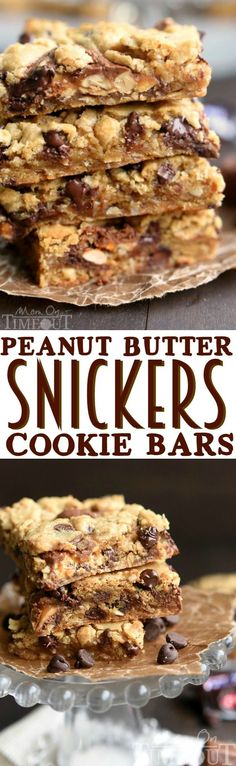 Peanut Butter Snickers Cookie Bars - all things good in this world.  These bars are delightfully chewy, incredibly moist, and just oozing with chocolate and peanut butter flavor.  | MomOnTimeout.com