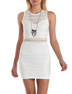 Sleeveless Crochet Cut-Out Bodycon Dress: Charlotte Russe #dress #bodycon