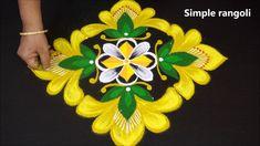 simple navratri rangoli with yellow colour Rangoli With Dots, Simple Rangoli, Diwali Special Rangoli Design, Colorful Rangoli Designs, Rangoli Ideas, Yellow Flowers, Colour, Make It Yourself, Halloween